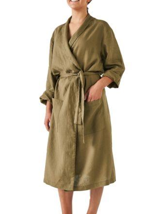 Nimes Olive Linen Robe