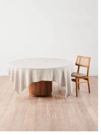 Nimes Natural Linen Square Tablecloth