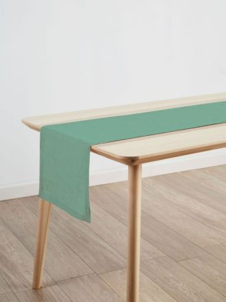 Nimes Sea Foam Linen Table Runner