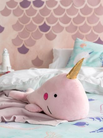 Nelly Narwhal Novelty Cushion