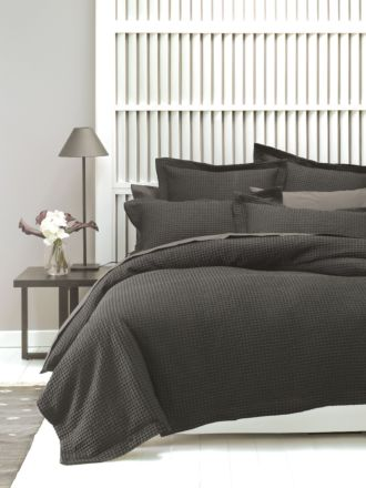 Deluxe Waffle Charcoal Quilt Cover Set