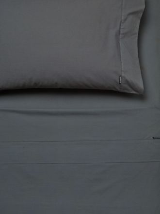 250TC Cotton Percale Charcoal Flat Sheet