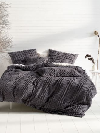 Fog Charcoal Quilt Cover Set
