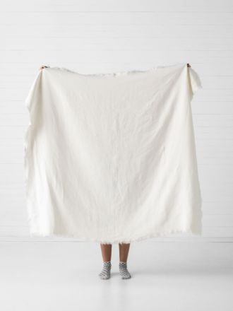 Linden Ivory Linen Throw