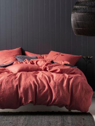 Nimes Sangria Linen Quilt Cover Set