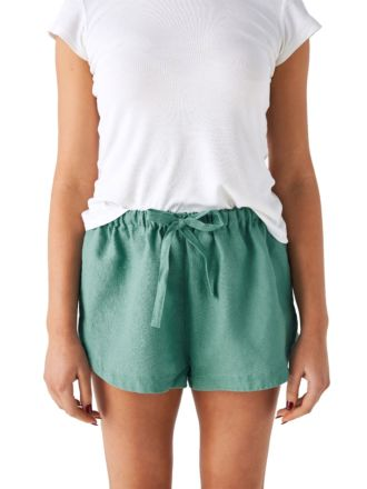 Nimes Sea Foam Linen Shorts