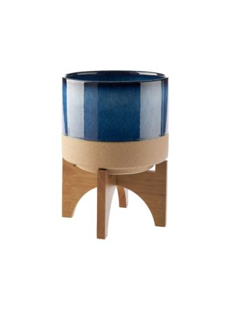 Splendor Blue Medium Planter Pot + Stand
