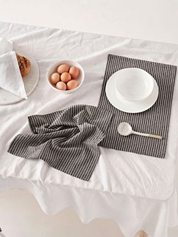 Grey Stripe 4-Piece Napkin Set